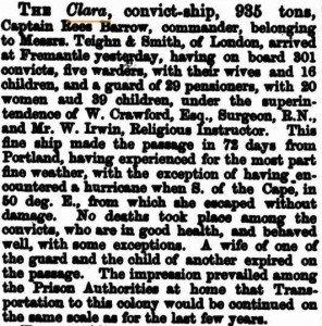 Clara-Arrival-West-Australian-Times-14-Apr-1864