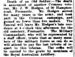 Hodges Joseph Walter Funeral [19 Feb 1909 West Australian (2)]