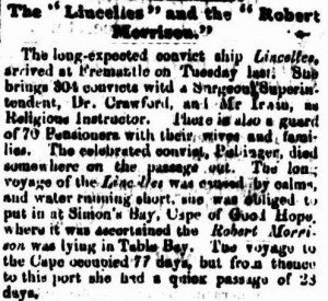 Lincelles Perth Gazette 31 Jan 1862