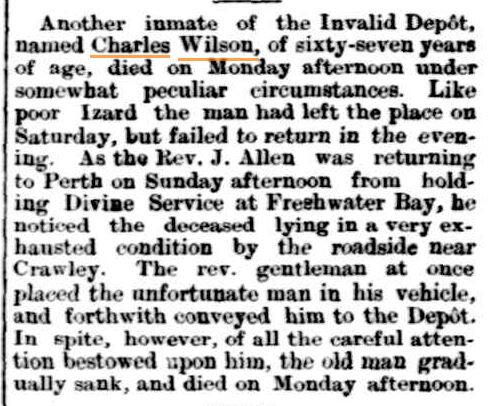 Wilson Charles Death Notice [Inquirer 5 May 1886]