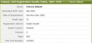 Abbott Patrick 15 Feb 1902 Death Index