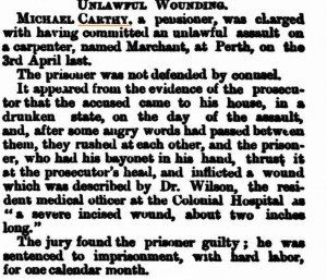 Carthy Michael Unlawful Wounding[Western Australian Times 6 Jul 1877]