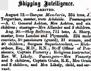 Sultana Arrival [Inquirer 24 Aug 1859]