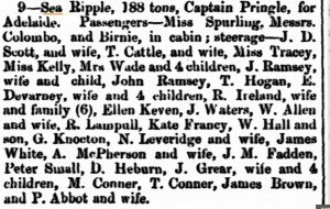Conner (sic) Thomas & M Sea Ripple [Inquirer12 Oct 1864]