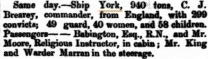 1862 York Arrival [Inquirer 7 Jan 1863]