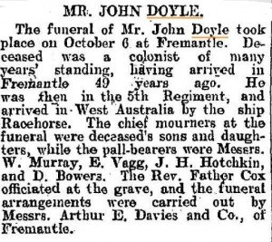 Doyle John Funeral [Western Mail 15 Oct 1904]