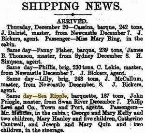Sea Ripple arrival Adelaide 1866