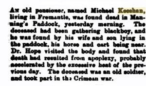 Keeshan Michael Death [West Australian 19 Dec 1889]