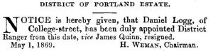 Logg Gazette 6 May 1869
