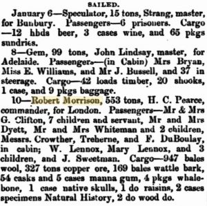 Robert Morrison to London 10 Jan 1864
