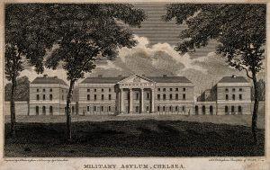 V0012893 Royal Military Asylum, Chelsea. Engraving by A. Warren after Credit: Wellcome Library, London. Wellcome Images images@wellcome.ac.uk http://wellcomeimages.org Royal Military Asylum, Chelsea. Engraving by A. Warren after R. B. Schnebbelie. 1805 By: Robert Blemmel Schnebbelieafter: John Sanders and Alfred William WarrenPublished: 1805 Copyrighted work available under Creative Commons Attribution only licence CC BY 4.0 http://creativecommons.org/licenses/by/4.0/