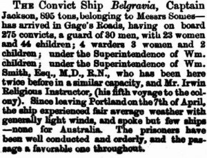 Belgravia Arrival Perth-Gazette 6 Jul 1866