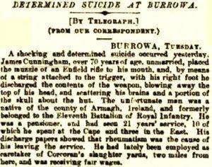 Cunningham James Suicide October 1888