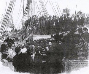 Non-conformists waiting to embark on 'Matilde' 1862