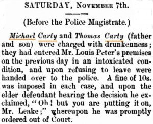 Carty Michael [Daily News 7 Nov 1884]