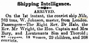 1858 Nile [Perth Gazette 8 Jan 1858]
