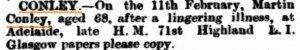 Conley Martin [SA Advertiser 23 Feb 1878]