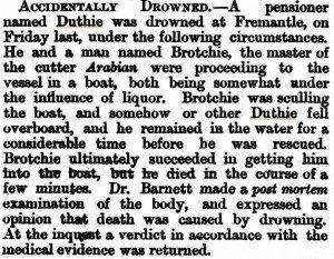 Duthie John Inquest [Western Australian Times 22 Jun 1875]