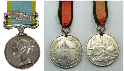 Crimea Medals - Sebastopol clasp & Turkish