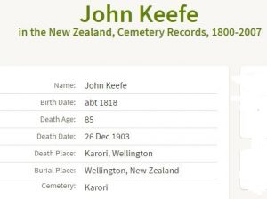 Keefe Burial