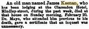 Keenan James Death Notice [SA Chronicle 26 Feb 1876]