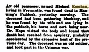 Keeshan Michael Death [West Australian 19 Dec 1889]